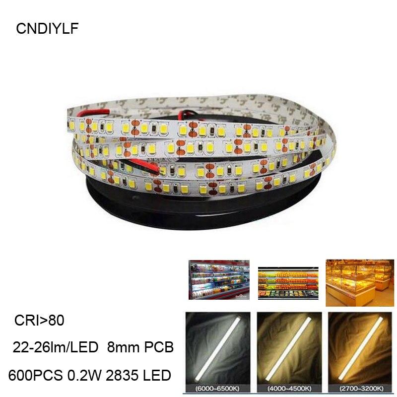 120LED/m Led Strip Light Ultra Bright 0.2W 2835 3528 SMD 600LED 5m Strip Light String Lamp Non-Waterproof Cool White DC12V