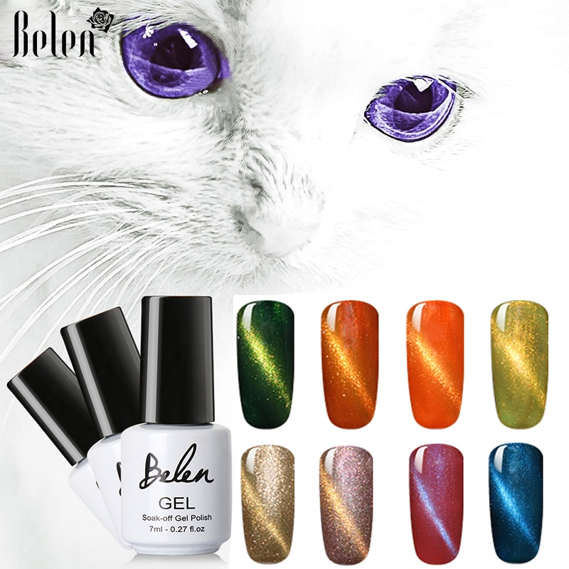 Belen Cat Eye Gel Nail Art Magnetic Soak Off Led UV Gel Nail Polish Magnetic Gel Lacquer 7ml Gel Vernise Gelpolish 75 Colors