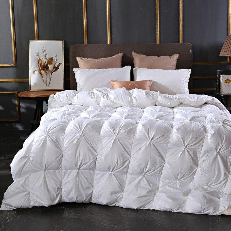 Funda de edredón de algodón de lujo nuevo edredón de plumas de ganso blanco edredón de cama doble mantener caliente grueso tamaño King cuatro temporada Edredon L