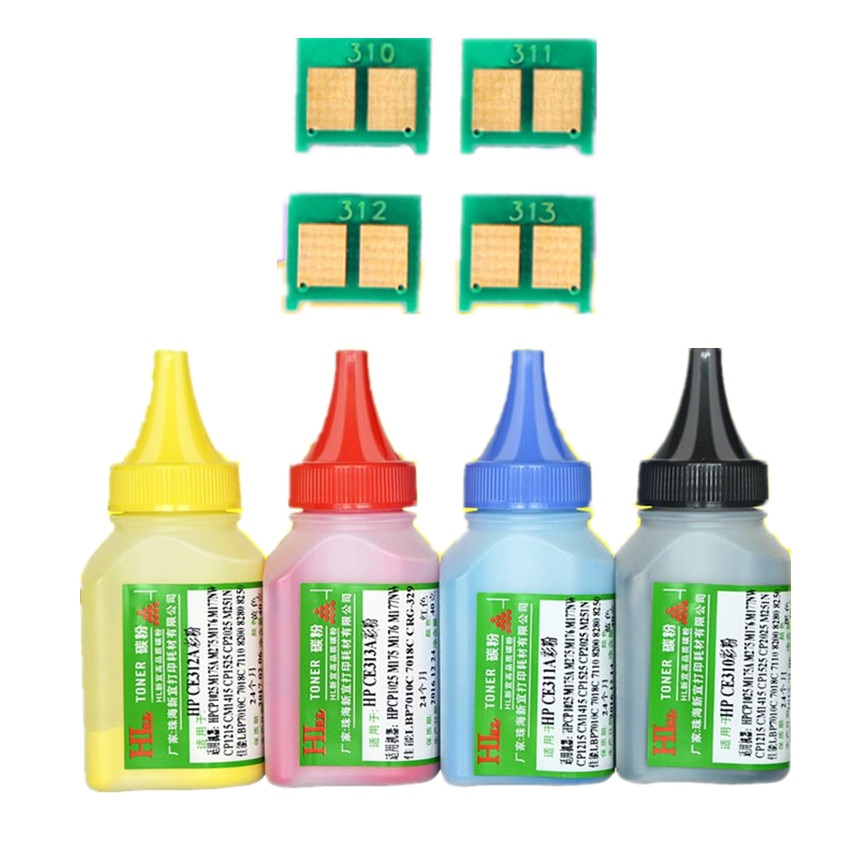 Farbe toner Pulver + 4chip CF210A 210a 131A toner patrone für HP LaserJet Pro 200 farbe M251nw M276n M276nw laser drucker