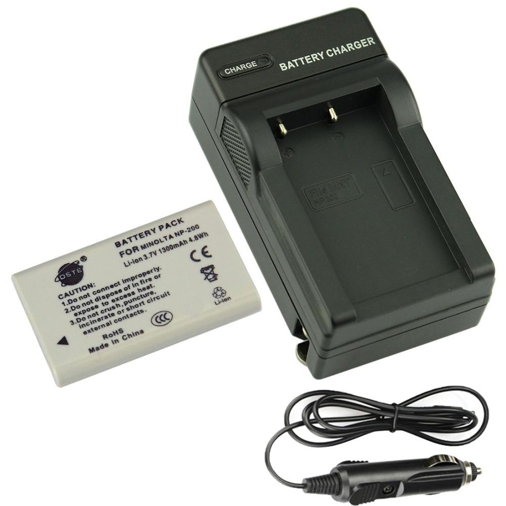 Batería recargable DSTE NP-200 + cargador de viaje y coche para cámara Minolta Dimage Xg X Xi Xt