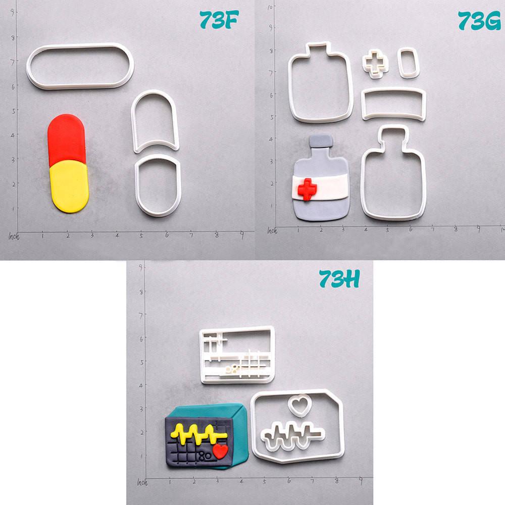 Пилс ECG дизайн резак для печенья набор на заказ 3D печатные помадки резак формочки для печенья инструменты для украшения торта кухонные аксе...