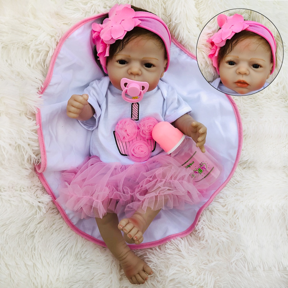 BeBe Reborn Doll Full Silicone Body 55cm Reborn Baby Dolls Lifelike Newborn Baby Gift Juguetes Babies Juguetes Brinquedos baby emulated doll soft reborn baby dolls newborn silicone full body lifelike doll washable handmade open mouth