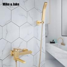 Mélangeur de robinet de douche avec douchette   Brosse en or de luxe, robinet de bain mural de salle de bains avec douchette à main mitigeur de robinet de salle de bains et douche