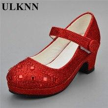 ULKNN 2020 sandales pour filles enfants Rhineston talon haut chaussures de fête de mariage bébé princesse chaussure rose rouge argent or 25-30 fille