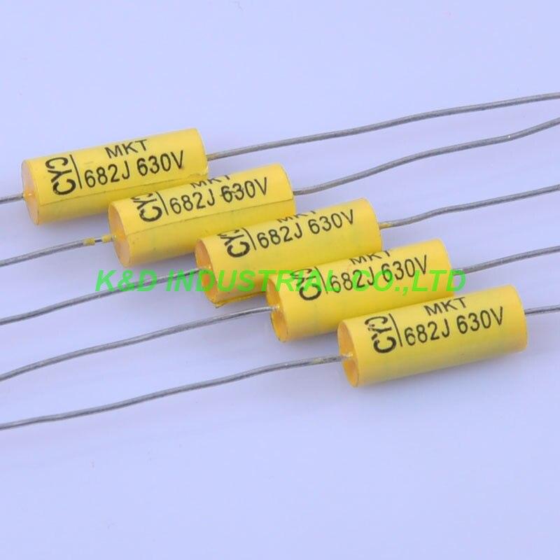 10 pcs 6*15mm Tubular Poly Axial Polyester Film Capacitor 0.0068 uf 683 630 v
