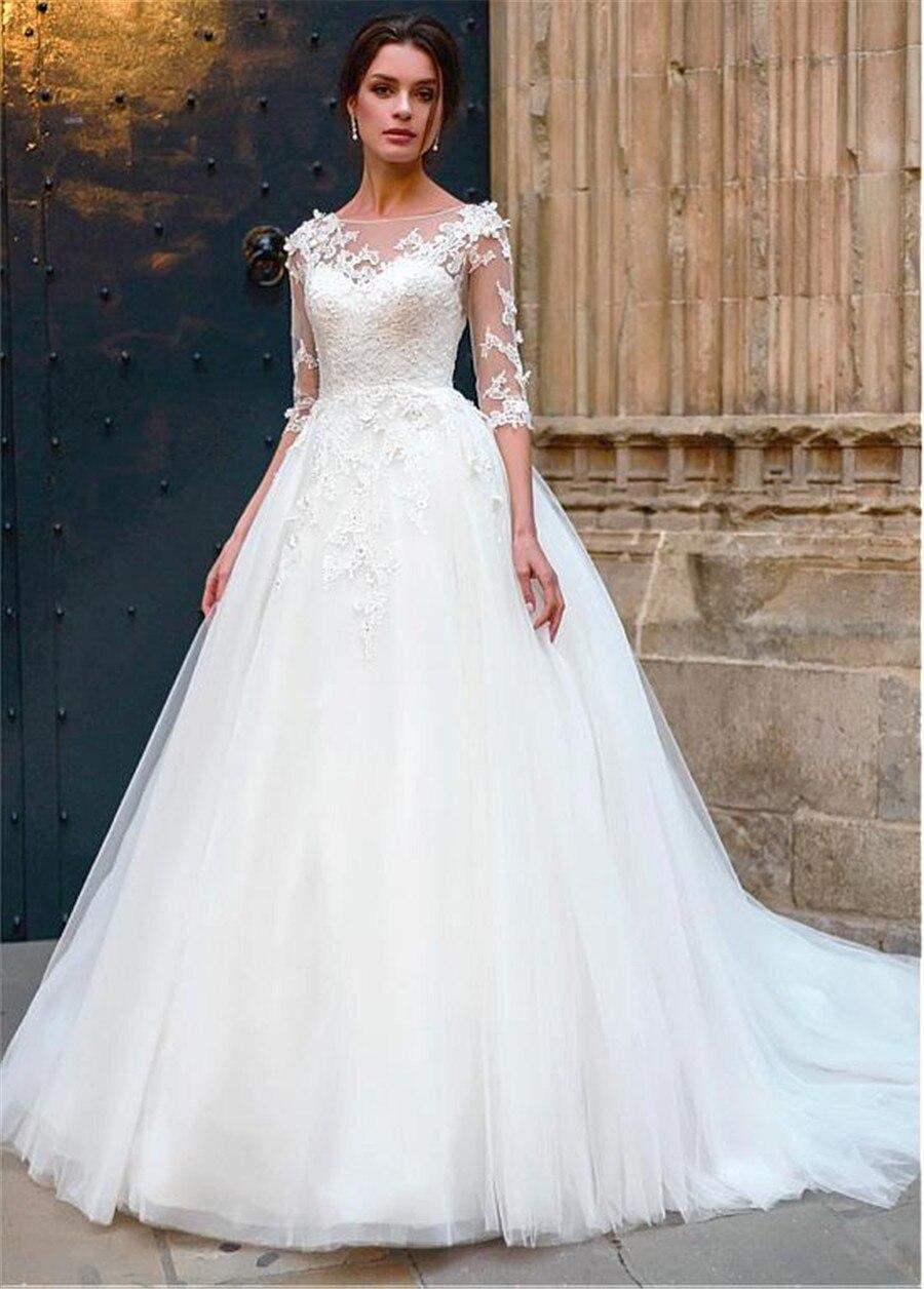 Привлекательное Тюлевое свадебное платье трапециевидной формы с кружевными аппликациями с объемными цветами, с короткими рукавами, свадеб...