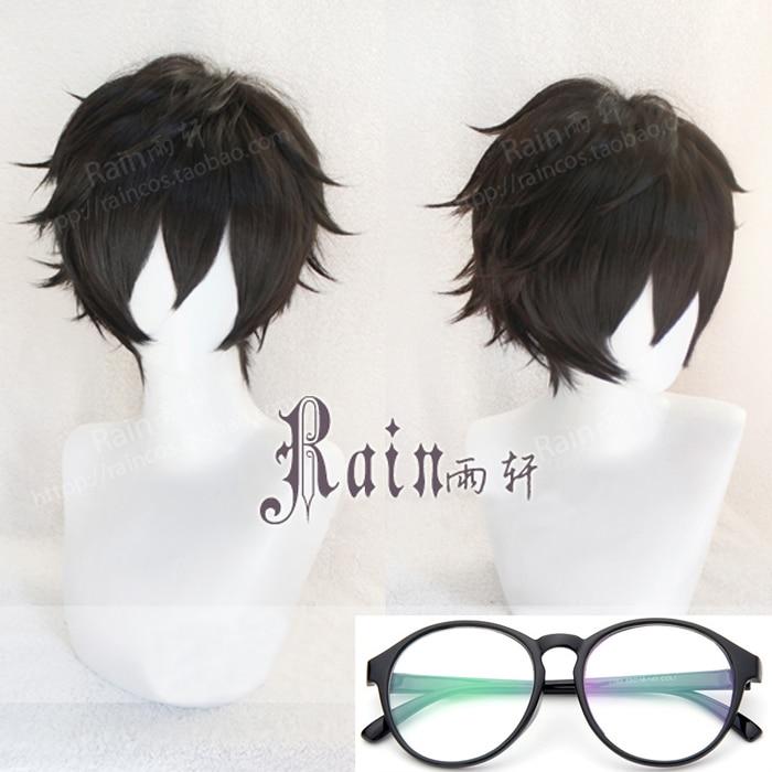 Persona 5 P5 Hero Kurusu Akira pelucas de cosplay de pelo corto negro resistente al calor + gorro de peluca Freen