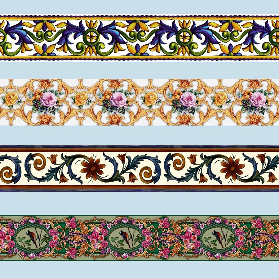 10M Self adhesive Totem Floral Wand Aufkleber Taille Linie Wallpaper Grenzen Aufkleber DIY Home Decor Glas Fliesen Dekoration Papiere