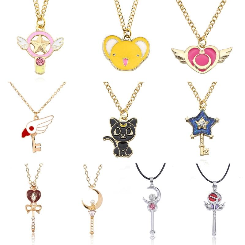 Anime Sakura Cardcaptor Sailor Moon collar dibujo tarjeta Captor corazón Wand gato conejo pájaro collares colgantes joyería para niños
