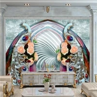 custom wallpaper 3d diamond peacock jewelry mural living room tv background wall decorative painting mural