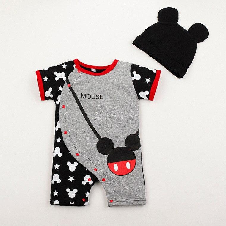 Z kapeluszem zestawy dla niemowląt gorąca sprzedaż Cartoon Baby Romper kombinezony bawełniane z krótkim rękawem charakter ubrania dla dzieci Romper zestawy dla 0-2T