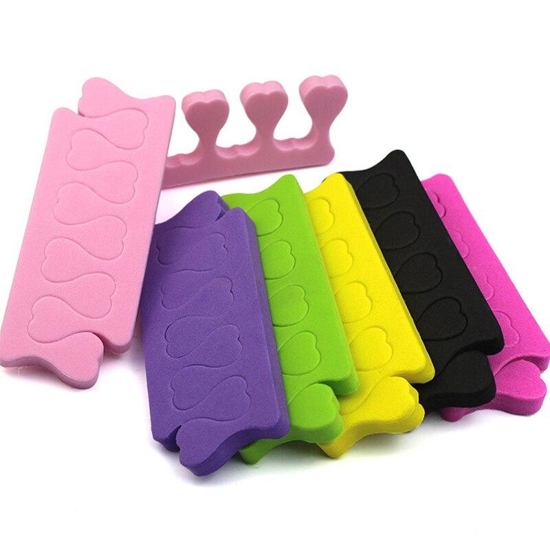 Lote de 20 unids/lote de separador de dedos de los pies de Arte de uñas esponja suave para pintar los dedos, separador de Gel UV para el cuidado de los dedos, herramientas de belleza para uñas