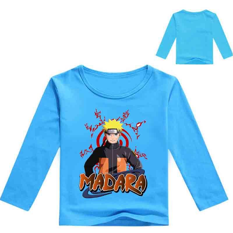 2018 otoño Naruto camisa de manga larga para niños Tops para niñas camiseta de dibujos animados Minecraf camisa niños ropa Nova 3-12 años