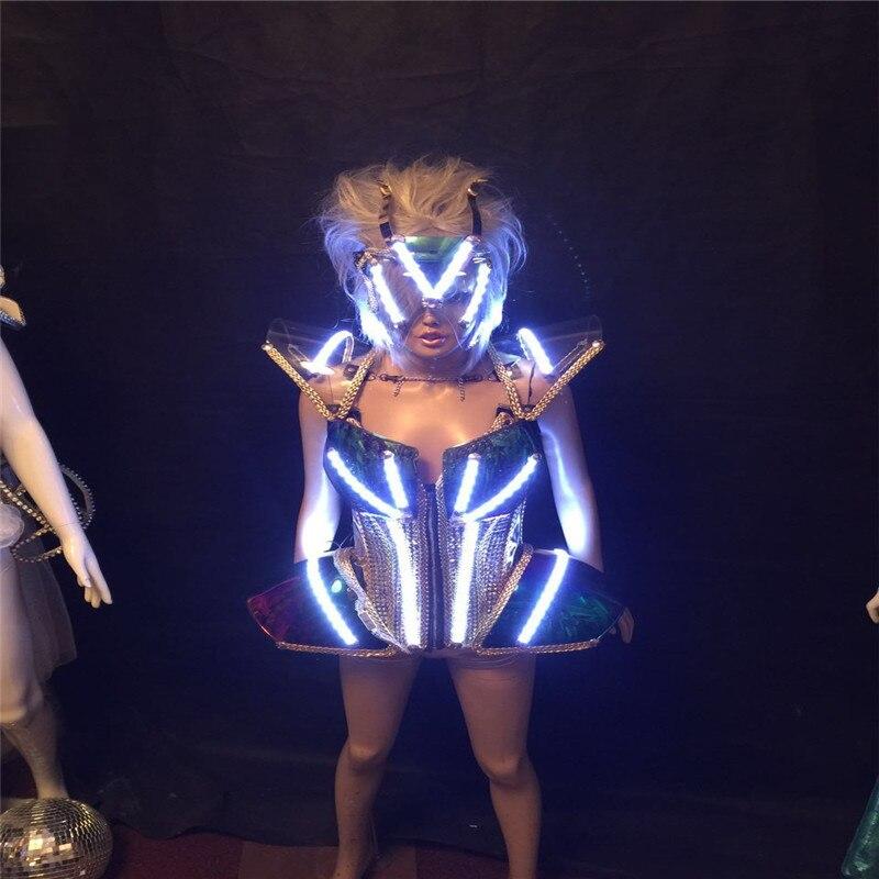 El modelo de barra KS54 lleva disfraces led de escenario luz luminosa bodysuit traje de robot para mujer realiza el vestido brillante armadura trajes ropa de dj