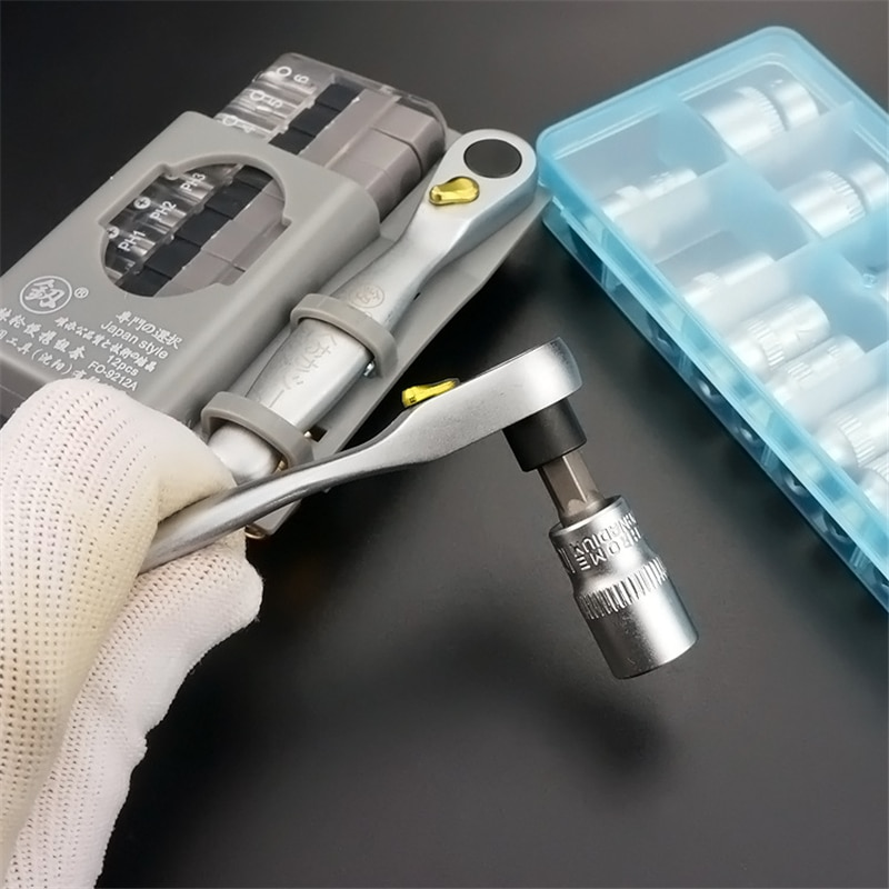 Socket Set Car Repair Tool Ratchet Set Torque Wrench MiNi Portable Two-way Closely Set of Screwdriver Ratchet