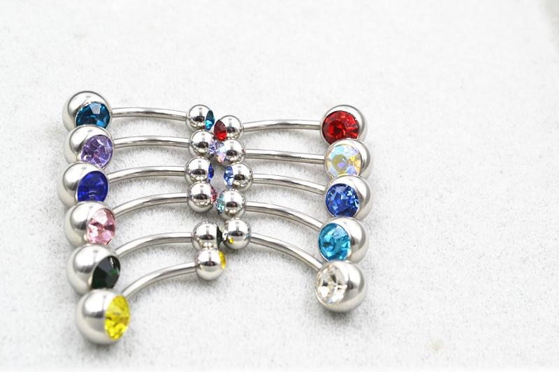 50 Uds., 14g x 12mm x 5/8mm, acero quirúrgico con doble cristal, ombligo, ombligo, anillos joyería para Piercing, largo de barra