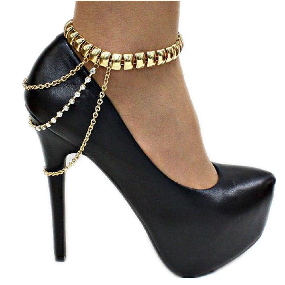 BSAID1/Женская обувь с бриллиантами и кисточками в стиле панк; Металлические украшения; Женские туфли-лодочки; Стразы; Цепочка с кисточками; Очаровательная золотая цепочка