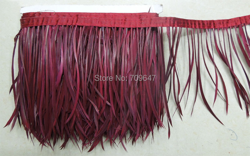 ¡5 yardas por lote! Adorno de plumas de ganso de Biot rojo vino, pluma de ordeño, Biot, recorte de sombrero, plumas para sombrerería, fascinadores y artesanías