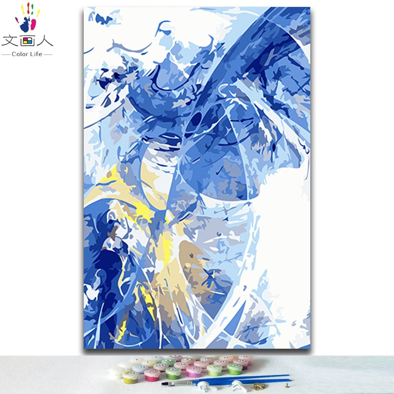 DIY צביעת ציורים מספרי רקיע מופשט נוף תמונות צבעים על ידי מספרים עם צבעים ערכות למבוגרים ציור ממוסגר