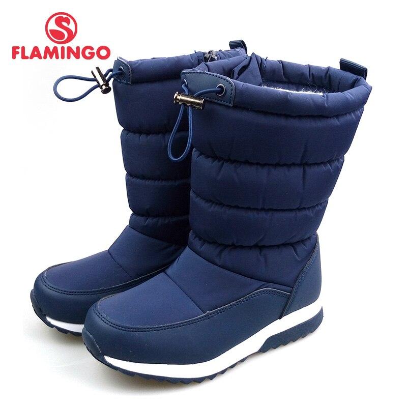 Водонепроницаемая зимняя обувь с рисунком фламинго, теплая зимняя обувь высокого качества, Нескользящие Детские зимние ботинки для мальчи...
