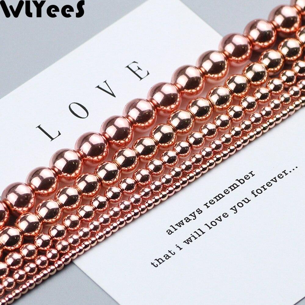 WLYeeS perles dhématite en or Rose placage de pierre naturelle ronde 2 3 4 6 8 10mm perles en vrac pour la fabrication de bracelets de bijoux à faire soi-même