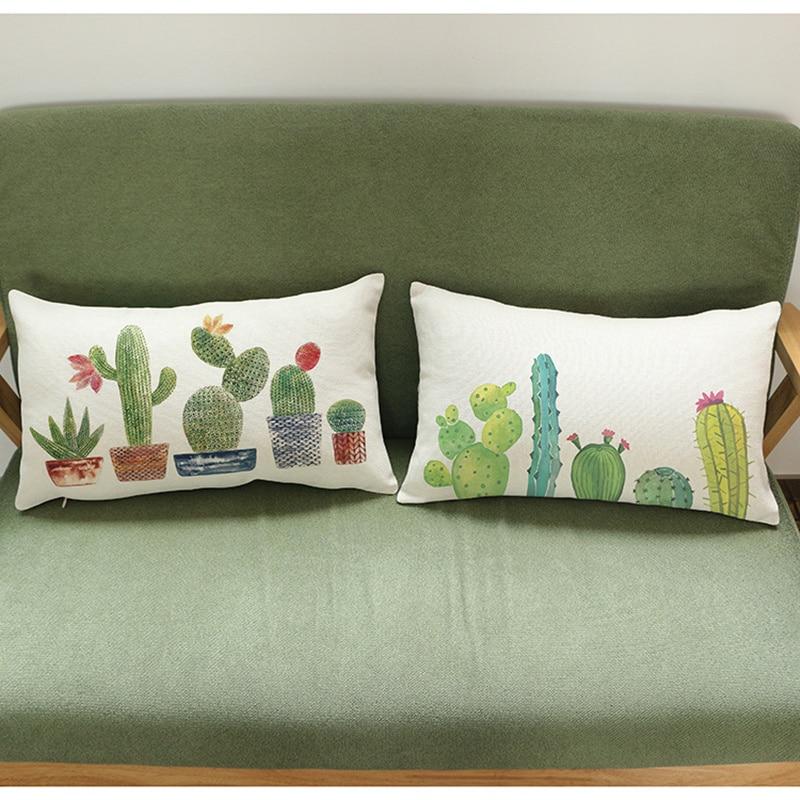 Cushion Cover Home Decor Decorative Pillowcase Cactus Plant Print Throw Pillow Cover Linen Cotton Cushion For Sofa 45x45 30x50