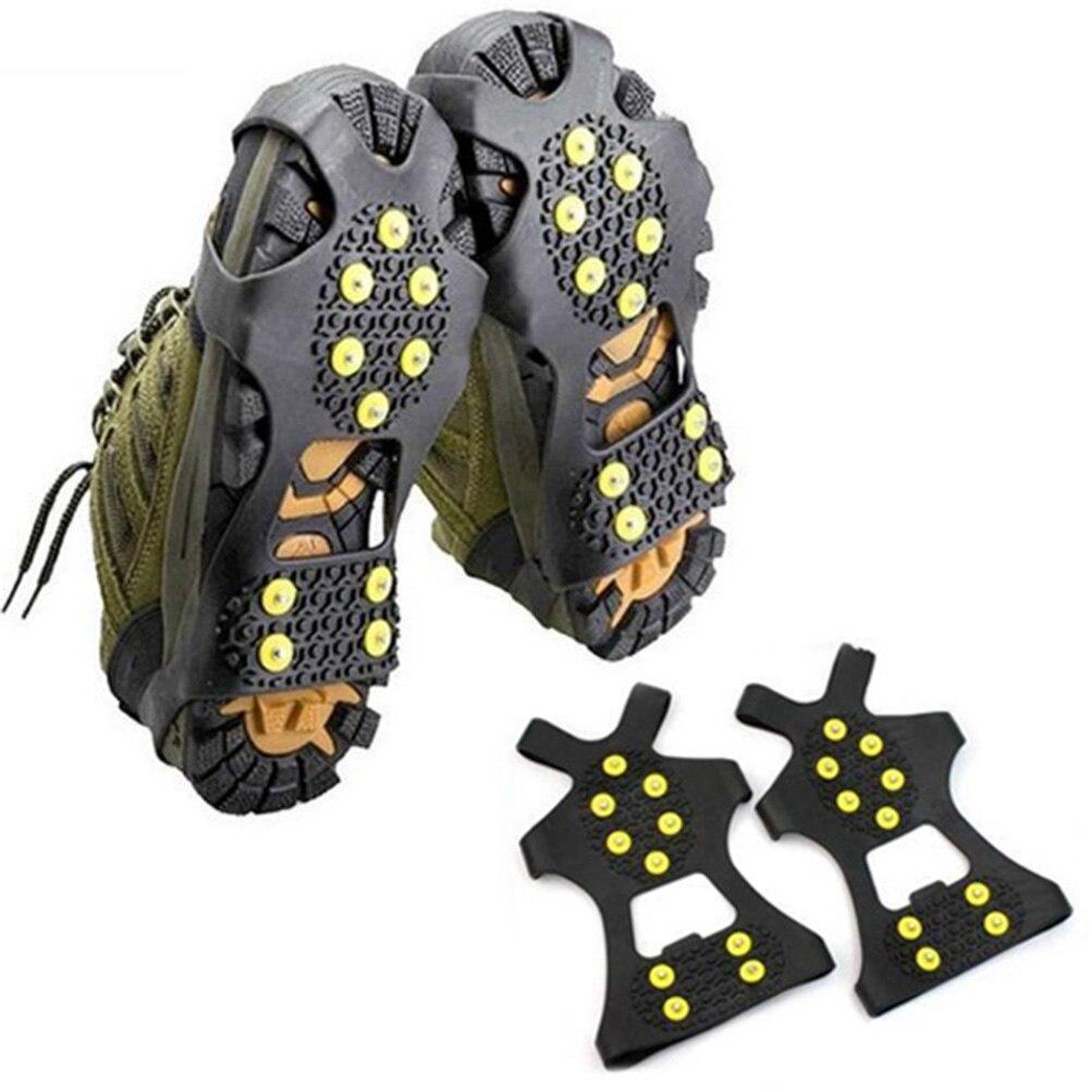 1 paar 10 Studs Anti-Skid Schnee Eis Klettern Schuh Spikes Grips Steigeisen Stollen Überschuhe Stollen Kette Krallen Griffe schuhe steigeisen