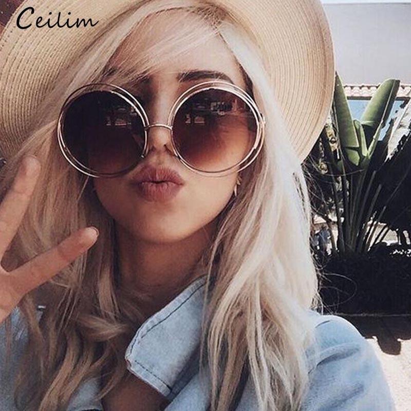 Übergroße Runde Sonnenbrille Frauen Marke Designer 2020 Neue Großen Kreis Sonnenbrille Damen Retro Vintage Spiegel Shades Weibliche Oculos