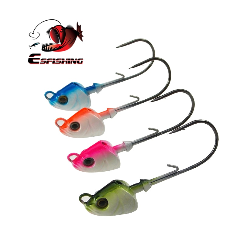 Fishing Hooks lead Jig head 4pcs 7g 1#/0 hook Fishing Lures Soft Bait Jig Metal Jig