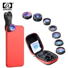 APEXEL 7 en 1 Kit dobjectif de téléphone Fisheye objectif macro grand Angle super grand Angle filtre CPL kaléidoscope et 2X objectif zoom pour smartphone