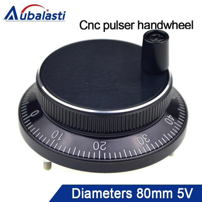 Aubalasti Cnc rueda con pulsador diámetro 80mm pulso 100 DC5v 6 pines o 4 pines CNC Máquina Manual codificador de pulso Generato