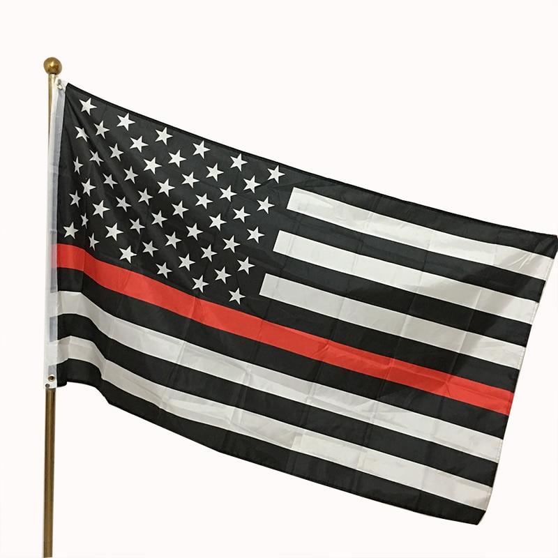 A polícia aplicação da lei bandeiras e banners fina linha vermelha bandeira americana 3x5 pé poliéster bandeiras dois fivela
