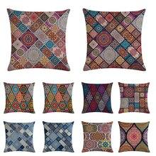 45*45cm Bohemia Painting Pillow Case Linen Mandala Cushion Cover Throw Pillow Case Sofa Home Decorative Pillows Cover ZY875