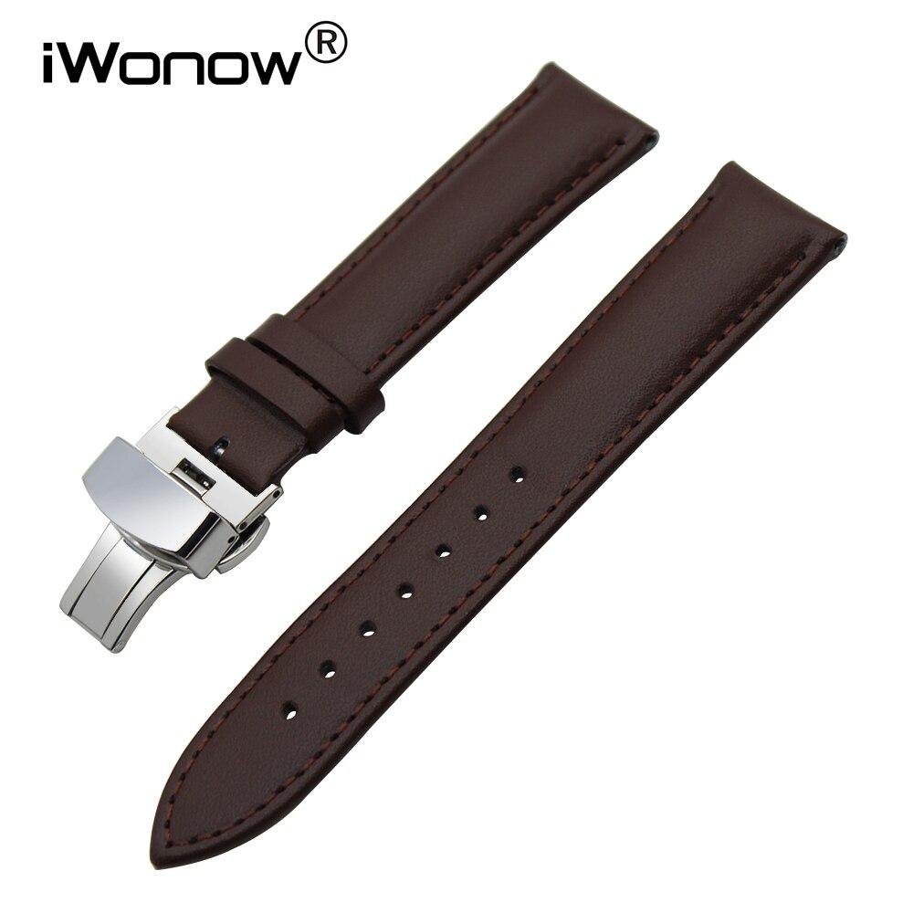 Pulseira de relógio de couro genuíno 22mm, fivela de aço inoxidável para asus zenwatch 1 2 men lg g watch w100 urbane w150 pulseira de banda,