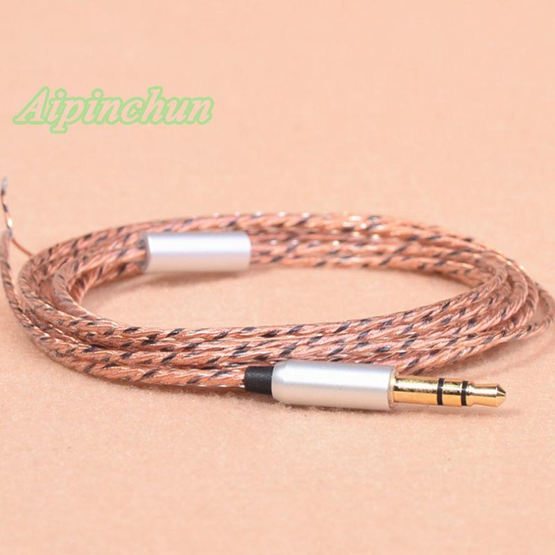 Aipinchun 3,5mm conector de 3 polos DIY auricular Cable de Audio Reparación de reemplazo de auriculares 40 núcleo Cable de alambre agradable para bajo en el oído AA0230