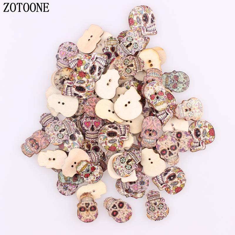 ZOTOONE 100pcs/lot DIY Mix Shapes Fahion Wood Skull Random Button Sewing Craft 2 Holes Wooden Buttons Clothes Scrapbooking Decor