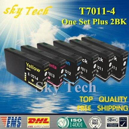 Un conjunto de 2 BK cartucho Compatible para T7011 a T7014... para Epson WP-4000 WP-4015DN WP-4095DN WP-4500 WP-4515DN etc.