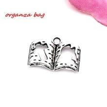 Hot !  15pcs  zinc alloy  Book Charm pendants DIY Jewelry 17 x 13.5mm   cv11