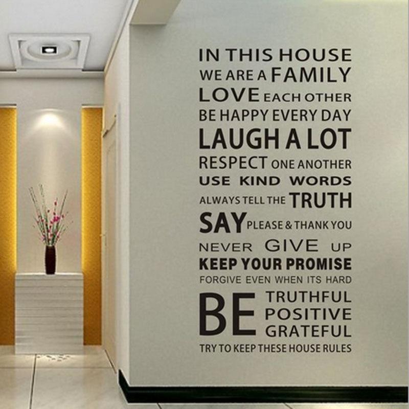 Английские постеры, настенные Стикеры, Семейные правила для дома, наклейки на стену, съемный декор, обои, сделай сам, постер, стикер для детской комнаты