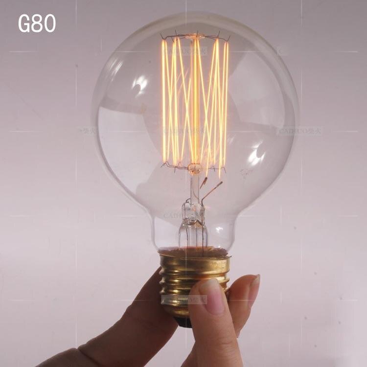 1900 antyczne stara żarówka Edisona 40 W 220 Radiolight G80 duży klatki wiewiórki wolframu na lampa wisząca