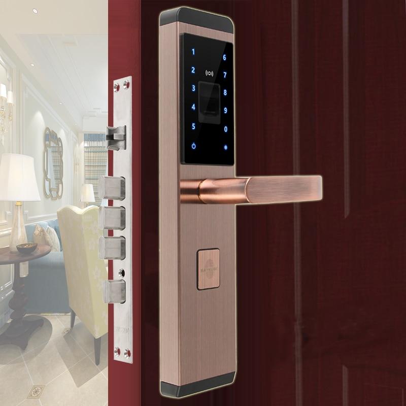 Get RAYKUBE Electronic Lock Digital Fingerprint Smart Lock 4 Ways Unlocking Security Home Door R-FX1