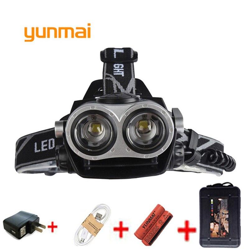 Yunmai faro Led 5000 Lumen linterna 2 * xml T6 faro linterna Zoom Frontal linterna de cabeza 18650 batería