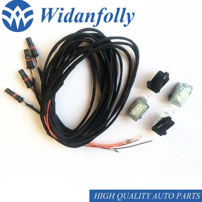 Wisanfolly 1 Juego de manija de puerta Exterior Led luz de ambiente lámpara con Cable para A4 8W B9 nuevo A4L 2017 2018