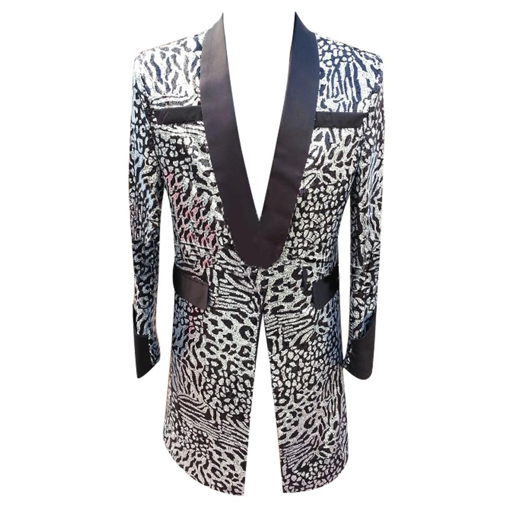 HCF de Air para hombre, 1 pieza, chal con cuello largo, patrón plateado, leopardo, grano, disfraces, chaqueta para pelota
