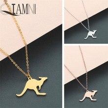 QIAMNI Trendy Nette Australischen Tier Kangaroo Halskette Wallaby Kompatibel Anhänger Halskette Geburtstag Schmuck Wilden Tier Liebhaber Geschenk Charme