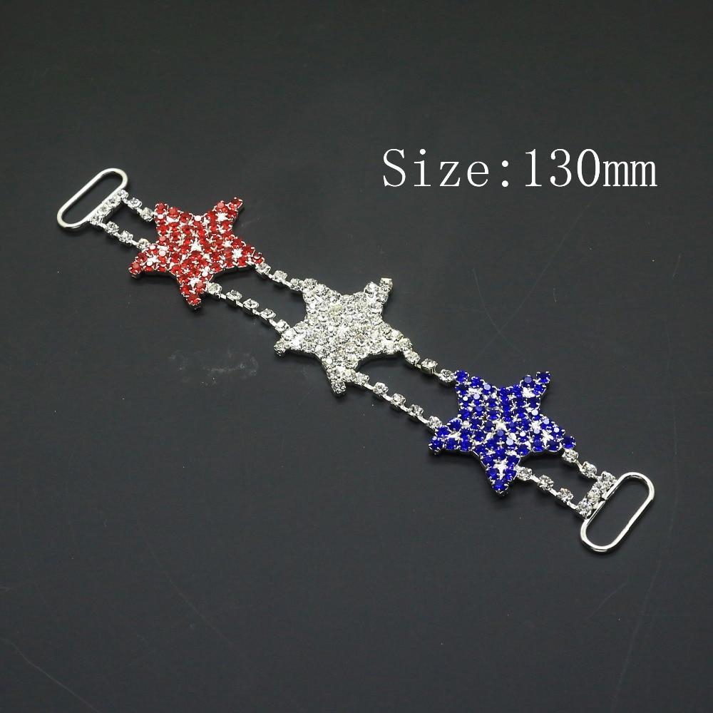 Creative 2 unids/lote 130mm * 25mm forma de estrella de cristal rhinestone bikini conector cadena/diamante bikini con hebilla