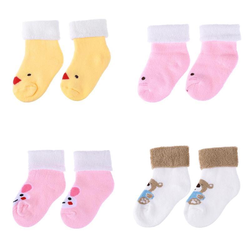 Winter Newborn Baby Cartoon Animal Loop Pile Warm Casual Indoor Floor Socks