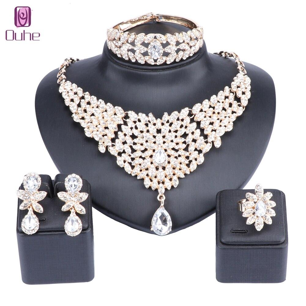 Estilo marroquí collar declaración pendientes brazalete anillo conjunto con diamantes de imitación de cristal boda de lujo conjuntos de joyería