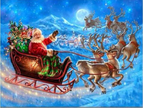 5D DIY diamante bordado Santa Claus y dees pinturas pegado punto de cruz decoración de habitación colorida